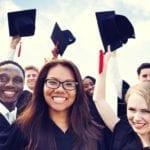 Students celebrating graduation