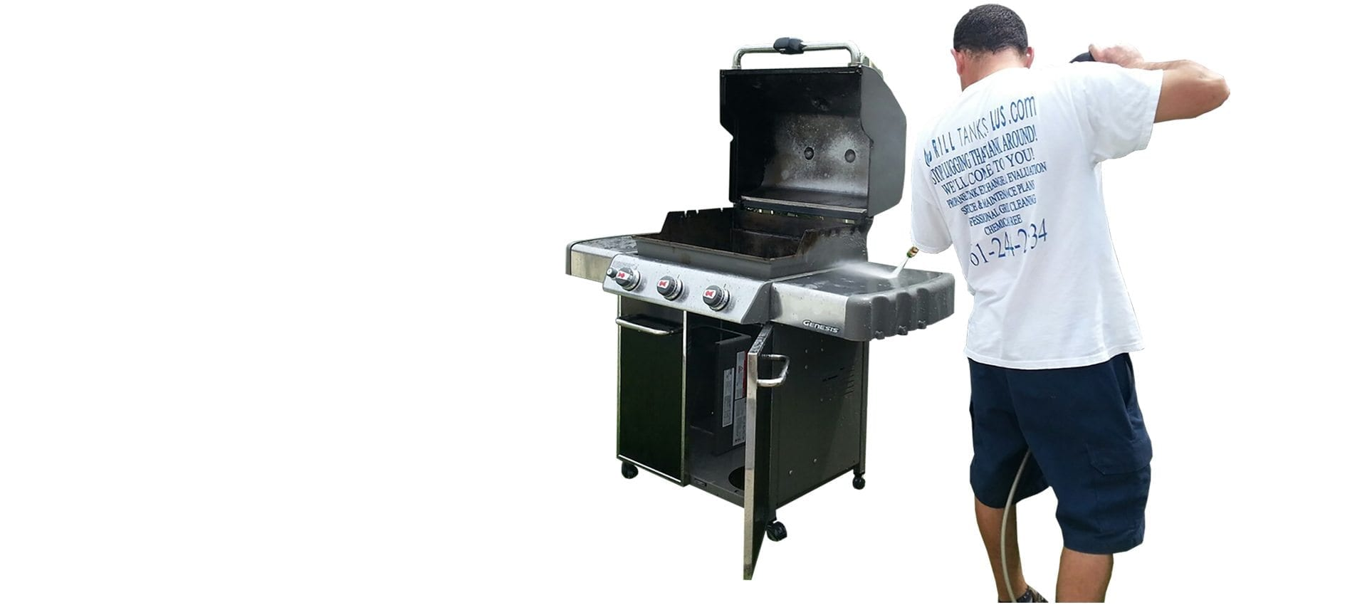 Grill Tanks Plus employee BBQ Grill Cleaning