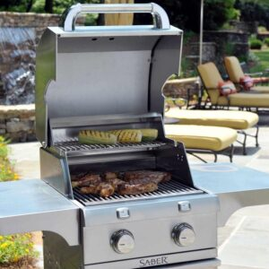 Saber-330-2-Burner-Stainless-Steel-Freestanding-Propane-Gas-Grill-R33SC0012-Lifestyle-Close-Up