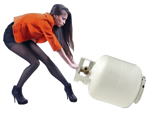 Girl Lugging a propane Tank