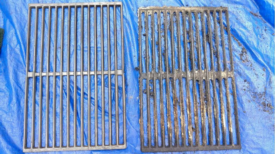 Before and After BBQ Grill Grate Cleaning